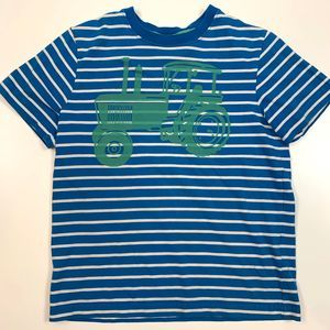Hanna Andersson Blue Striped Tractor T Shirt 130 8